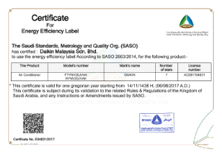FTYNV Series 20_ 25 SASO Certificate